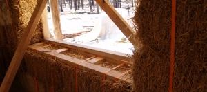 Window installation in a straw bale wall