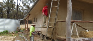 Rendering a straw bale house with a pump